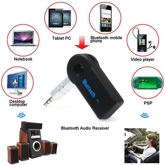 USB Adaptador Bluetooth para Coche 3.5mm Jack Receptor Bluetooth Inal/ámbrico Bluetooth AUX Audio MP3 Reproductor de M/úsica Manos Libres Herramienta para Coche